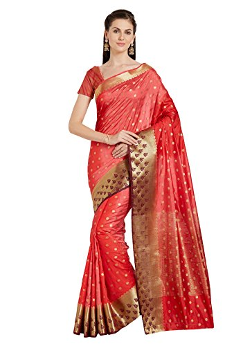 Designer Sarees Woven Work Banarasi Art Silk Saree for women With Unstitched Blouse Piece (Shaded Red)