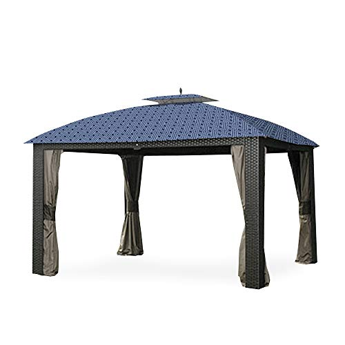 Garden Winds Replacement Canopy for The Sonona Riviera Wicker Gazebo - Standard 350 - Midnight Trellis ()
