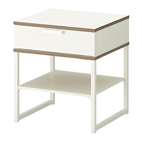 Ikea Trysil Table De Chevet Blanc Gris Clair 45 X 40