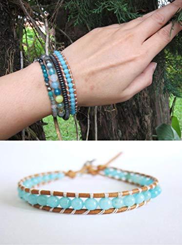 2 pc Set - Blue Chalcedony Wrap + Hematite Shamballa Bracelet | Natural Stones Bracelet for Healing