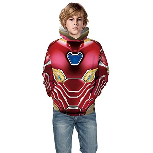 Toddler Boy Iron-Man Halloween Costume Children 3D Print Hoodie Tops Sweatshirts -
