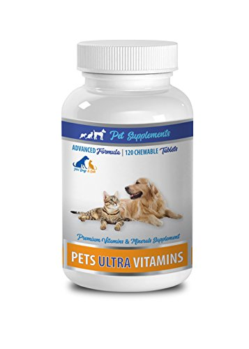 PET SUPPLEMENTS vitamins for cats - PET ULTRA VITAMINS - PREMIUM MINERALS - FOR CATS AND DOGS - vitamin d for cats - 1 Bottle (120 Chewable)