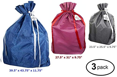 Premium Fabric Gift Wrapping Bags Organza with Satin Ribbon - Grey, Red and Blue Fabric Solid- 3 Sizes Large, Extra Large & Jumbo - Holiday Valentines, Perfect for Large & XLarge Gifts (3 Pack)