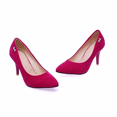 gamuza los de fino gules de rojos tallas banquete grandes de mujer zapatos señaló zapatos tacón ojos zapatos de alto perforación Talón wzqd05w