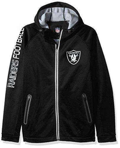 NFL Oakland Raiders Motion Full Zip Hooded Jacket, Large, Black