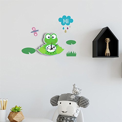 AmazingWall Wall Sticker Mini Tree Branch Owl Shape Clock Non Ticking Kid's Room Decoration Easy To Read DIY (Sets Uk Nursery Modern Furniture)