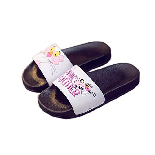 Verano Zapatillas de baño Rosa Leopardo Mujer de Dibujos Animados Baño Interior Playa al Aire Libre Plana Suave Mujer...