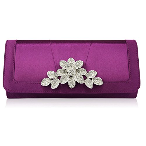 xardi London Top mujer Celebrity Damas de Honor Satén Embrague Mujer Diamante novia bolsas de noche Morado - morado