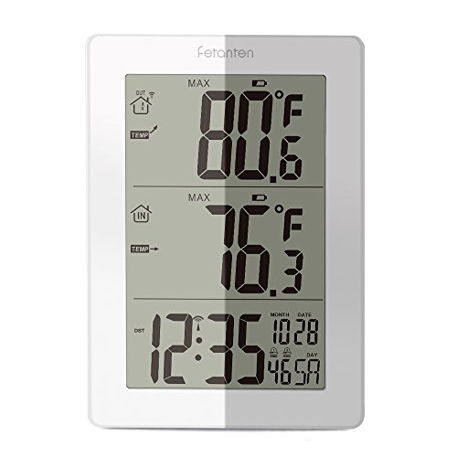 Fetantenclock Digital Indoor Outdoor Thermometer, Wireless Weather Station with Outdoor Sensor with Temperature & Temp. Trend, Alarm, Calendar (White) (Weather Trend Weather Station)
