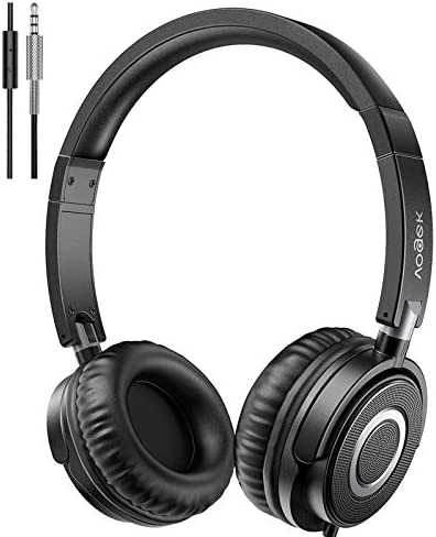 Vogek Headphones with Microphone, Portable Foldable On Ear Headsets Wired with Stereo Bass, Noise Isolating and Adjustable Headband for Home Work Online Office Travel, Black