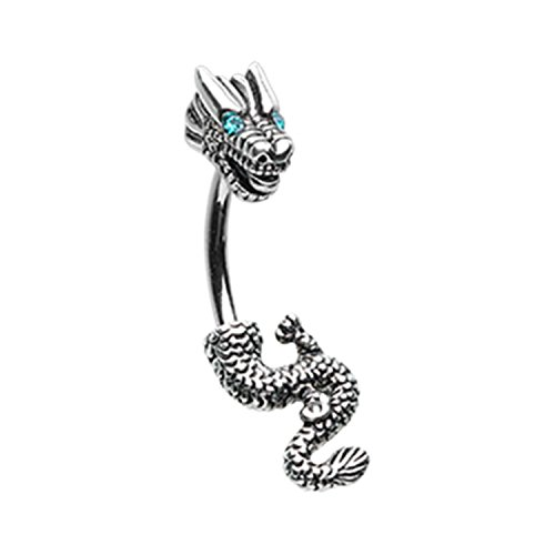 Powerful Never Ending Dragon Navel Belly Button Ring Size 14GA 3/8