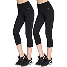 Aenlley Womens Activewear Yoga Pants High Rise Workout Gym Spandex Tights Capris Color Black
