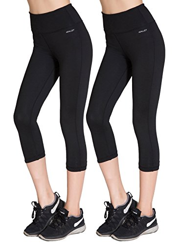Aenlley Womens High Waisted Yoga Capris Workout Fitness Spandex Gym Leggings Color Black Size L Lycra Workout Pants