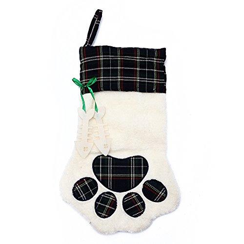 M DoDo Christmas Paw Stocking For Pet Dog Large Sherpa Hanging Christmas Stocking (Green) -