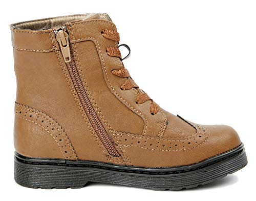 Image of JELLY BEANS Cloe Boys Wingtip Hiking Ankle Boots Side Zipper Brown 12