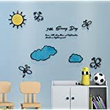 DecorSmart Plastic 3d Sunny Day Wall Decal for Living Room Bedroom Sofa Backdrop Tv Wall Background, Originality Stickers Gift, DIY Wall Decal Wall Decor Wall Decorations