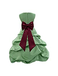 ekidsbridal Clover Green Satin Pick-Up Bubble Flower Girl Dress Formal Dresses 808T