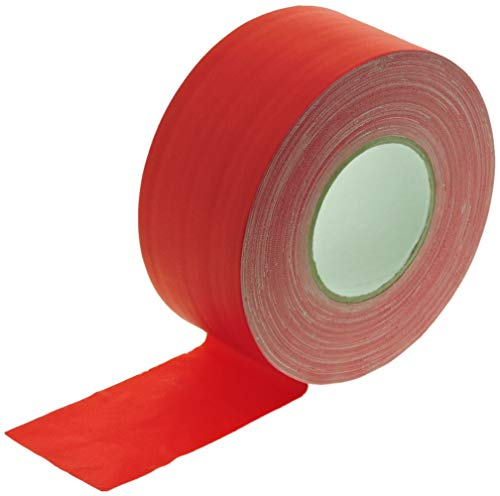 3 in x 60 yd Red Gaffers Tape HEAVY 12.8 Mil Smooth Matte Finish PRO Floor Stage Gaff Tape Audio Video Theater Cloth Reinforced Rubber Adhesive Removable High Traffic No Residue 72MM X 55M