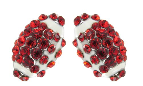 Mini Pavé Football Rhinestone Stud Earrings - Red Crystals with White Enamel - 1 Disc Red Enamel