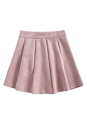 Romwe Women's Cute A-line Flared Mini Casual Suede Skater Skirt