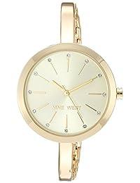 Nine West - Reloj de pulsera con cristales para mujer, Dorado
