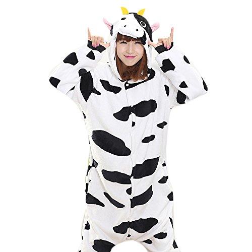 Unisex Adult Halloween Cow Costume, Attractive Animal Onesie (Cow Adult Onesie)