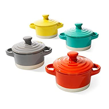 Creative Co-op Round Stoneware Mini Baker with Lid, 3-1/4-inch, 4 Colors