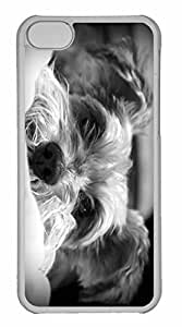 iPhone 5C Case, Personalized Custom Dog Bw for iPhone 5C PC Clear Case
