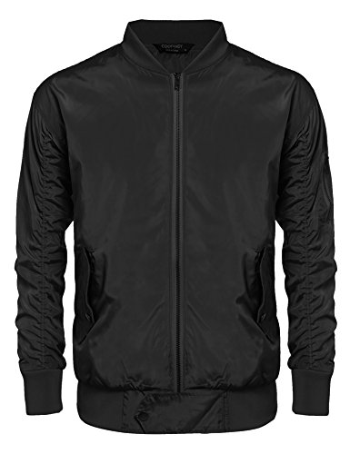 Coofandy Men's MA-1 Bomber Flight Biker Motorcycle Lightweight Jacket (XX-Large, Black) (Jean Biker Jacket)