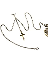 ManChDa Double Albert Chain Pocket Watch, Curb Link Chain 3 Hook Antique Plating Shield Design Fob T Bar for Men Bass with Cross