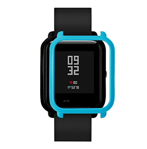 Ganenn Watch Protect Case, SUKEQ Slim Colorful Full Protective Bumper Case Cover for Xiaomi Huami Amazfit Bip Youth Watch (Blue)