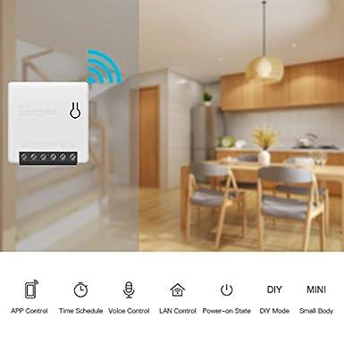 IXVXI Commutateur intelligent WiFi SONOFF Mini-commutateur 2 voies commutateur WLAN Commutateur WiFi mural /à la maison MINI DIY Home avec iPhone pour Android