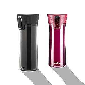 Contigo Autoseal Bella Double Wall Insulated 2-Pack Travel Mug, 14-Ounce (Red / Black)