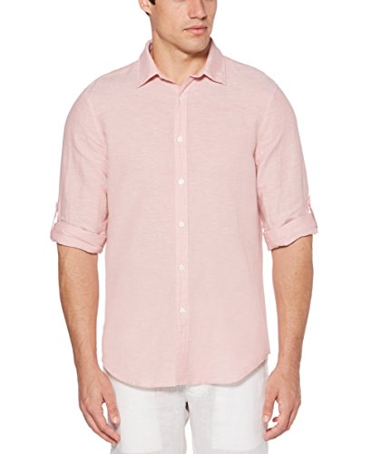 - Perry Ellis Men's Rolled-Sleeve Solid Linen Cotton Button-Up Shirt, Himalayan Pink-4DSW4021, Large