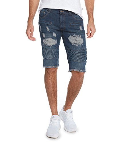 Men's 5 Pocket Distressed Denim RD Shorts by 9 Crowns-Blue-38