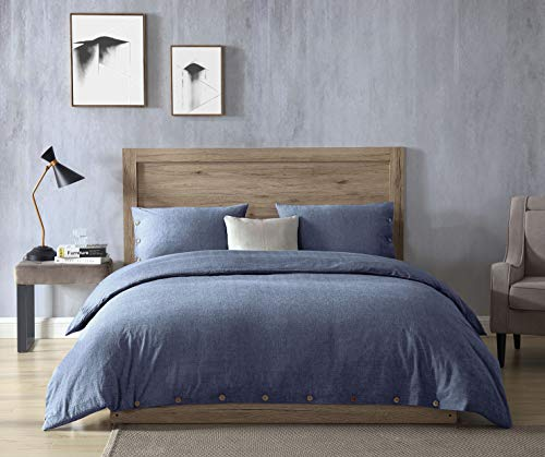 EXQ Home 100% Washed Cotton Denim Blue Duvet Cover Set Full/Queen Size 3 Pcs, Super Soft Hotel Collection Bedding Vintage Comforter Cover with Button Closure (Hypoallergenic, Breathable) (Blue Full Duvet)