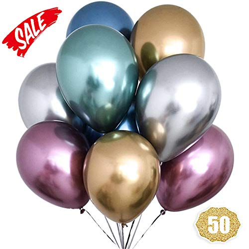HoveBeaty Metallic Balloons Chrome Shiny Latex 12 Inch Thicken Balloons 50 Pack for Wedding Party Baby Shower Christmas Birthday Carnival Party Decoration Supplies -