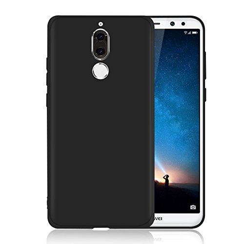 Funda para Huawei Mate 10 Lite , IJIA Puro Negro Hermoso Flor De Pera TPU Silicona Suave Cover Tapa Caso Parachoques Carcasa Cubierta Case para Huawei Mate 10 Lite (5.9) Black-WM111