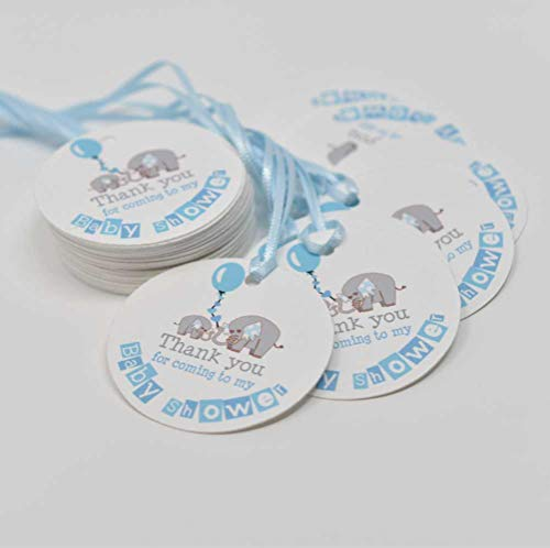 Elephants Baby Shower Tags - Thank you for celebrating favor tags - Elephants Favors Tags - Set of 40 tags ()