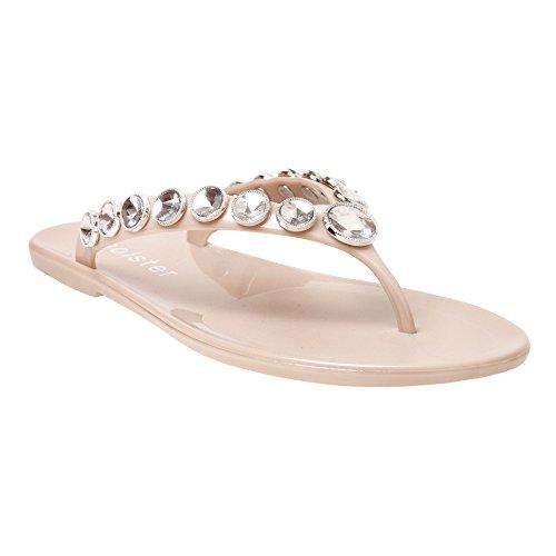 ae3803457908 Women s Vegan Jeweled Beachside Flat Jelly Sandals (7