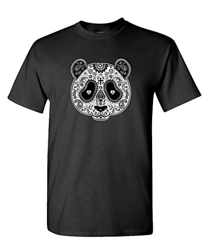 Panda MASK Day of The Dead - Sugar Skull - Mens Cotton T-Shirt, S, Black