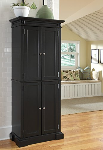 - Home Styles Americana Pantry Storage Cabinet, Black Finish