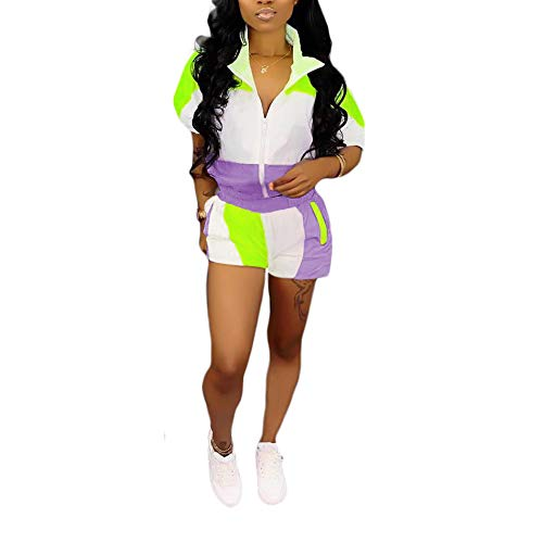 IyMoo Women's 2 Pieces Outfits Short Sleeve Zipper Jacket and Pants Set Tracksuits Purple-3 -