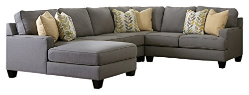 - Ashley Furniture Signature Design - Chamberly 4-Piece Sectional - Right Arm Facing Loveseat, Armless Loveseat, Wedge, and Left Arm Facing Corner Chaise - Gray