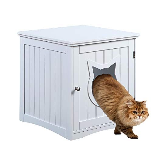 Cat House Side Table, Nightstand Pet House, Litter Box Furniture Indoor Pet Crate Litter Box End Table, Litter Box Enclosure, (White)