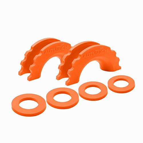 AUTMATCH Pack of 2 D-Ring Shackle Isolators Washers Kit 2 Rubber Shackle Isolators and 4 Washers Fits 3/4 Inch Shackle Gear Design Rattling Protection Shackle Cover Orange ()