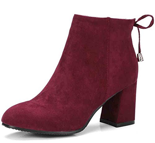 Easemax Womens Elegant Bowknot Oversize Square Toe Side Zipper Mid Block Heel Ankle Boots Wine Red zv8IgA