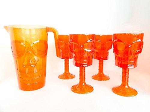Halloween Table Decorations Cups Skull Goblet Set of 5 & Pitcher Halloween Tableware Glasses Party Decor Table Setting Orange ()