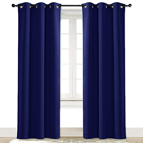 NICETOWN Living Room Curtain Window Treatment Energy Saving Thermal Insulated Solid Grommet Blackout Drape/Drapery (Royal Navy Blue, Sold Individually, 42 by 84-Inch)