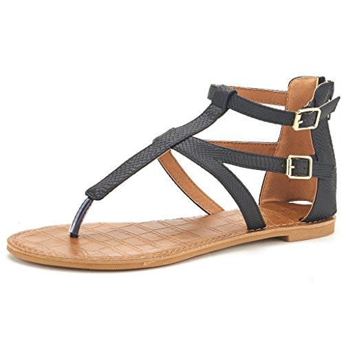 DREAM+PAIRS+VICTUS+Women%27s+Gladiator+Ankle+Strap+Thong+With+Two+Adjustable+Buckles+Accent+Summer+Flat+Sandals+BLACK+SIZE+9